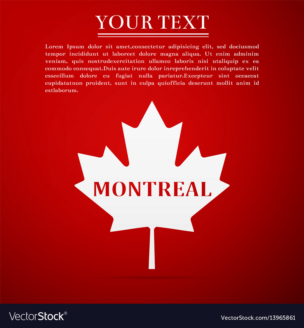 Canadian maple leaf with city name montreal
