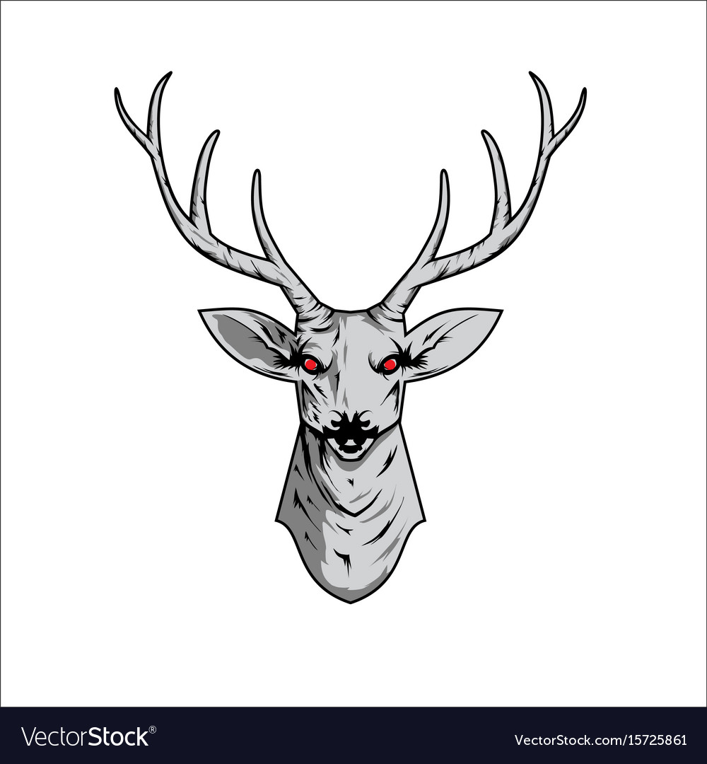 Contour of a deer skull with antlers Royalty Free Vector