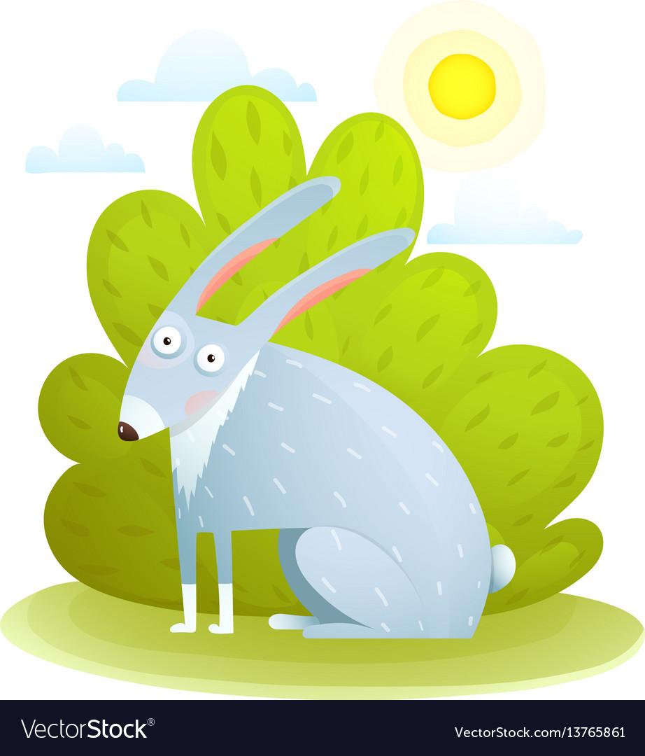 Cute kids rabbit in forest