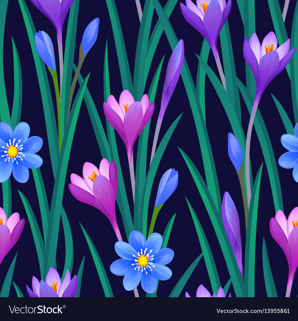 Floral seamless pattern with crocuses