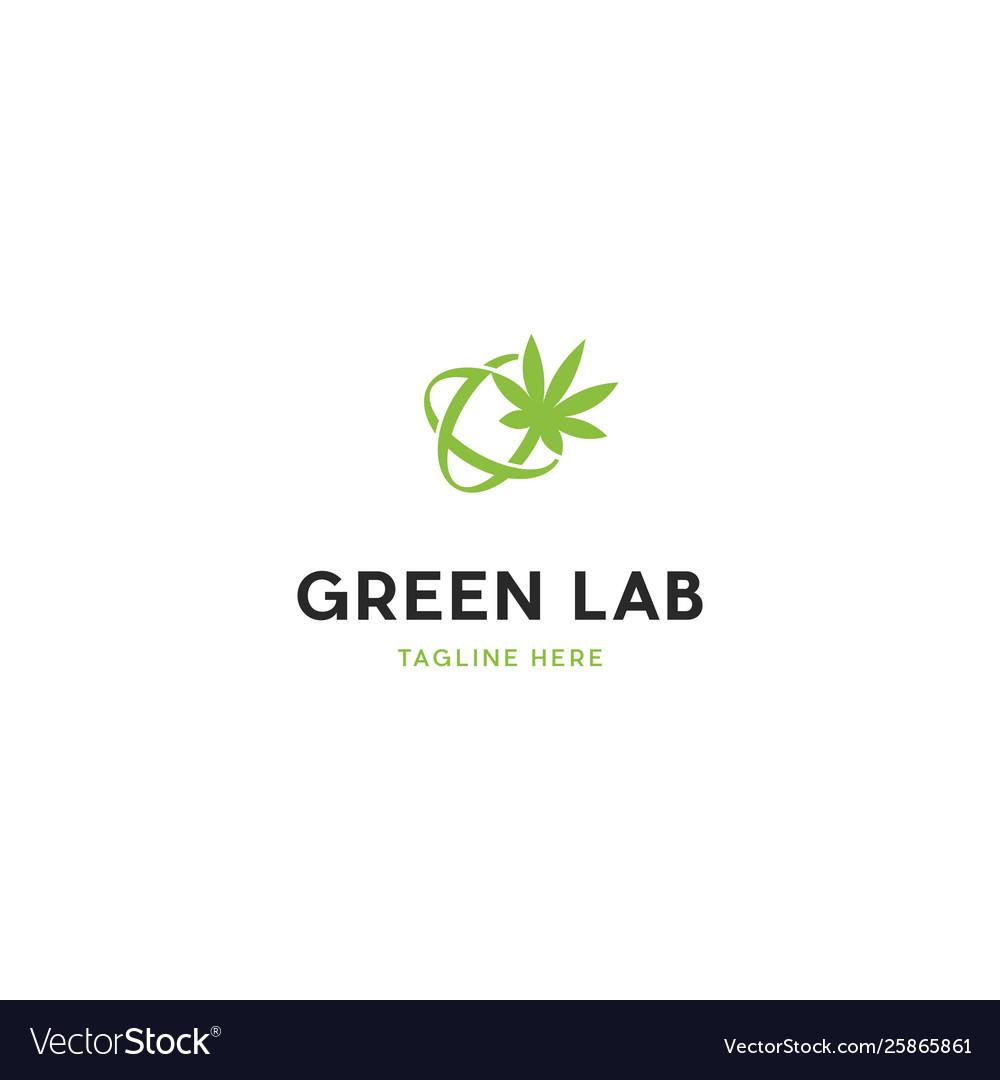 Green marijuana science lab logo design