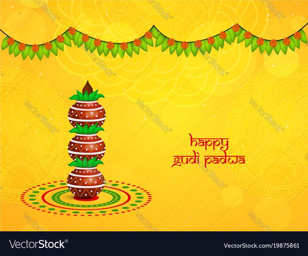 Hindu Festival Gudi Padwa Background Vector Image On Vectorstock