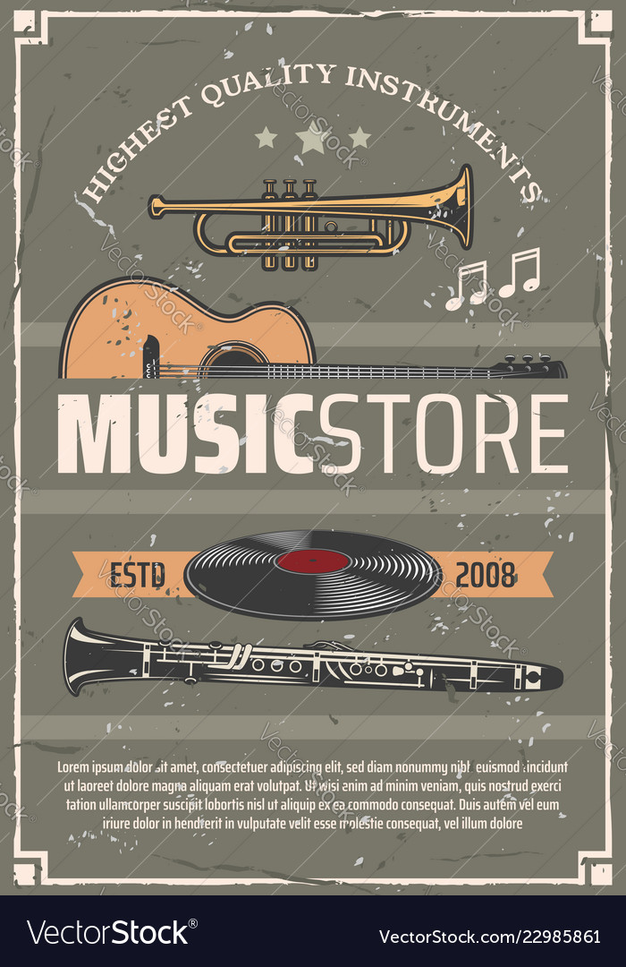 Musical instruments music store poster