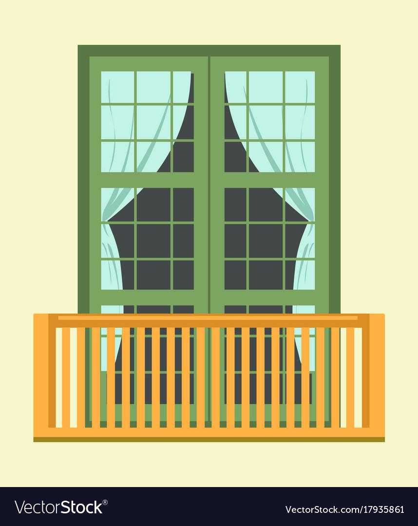european style windows decoration exterior nice tall broad windows in european style vector image