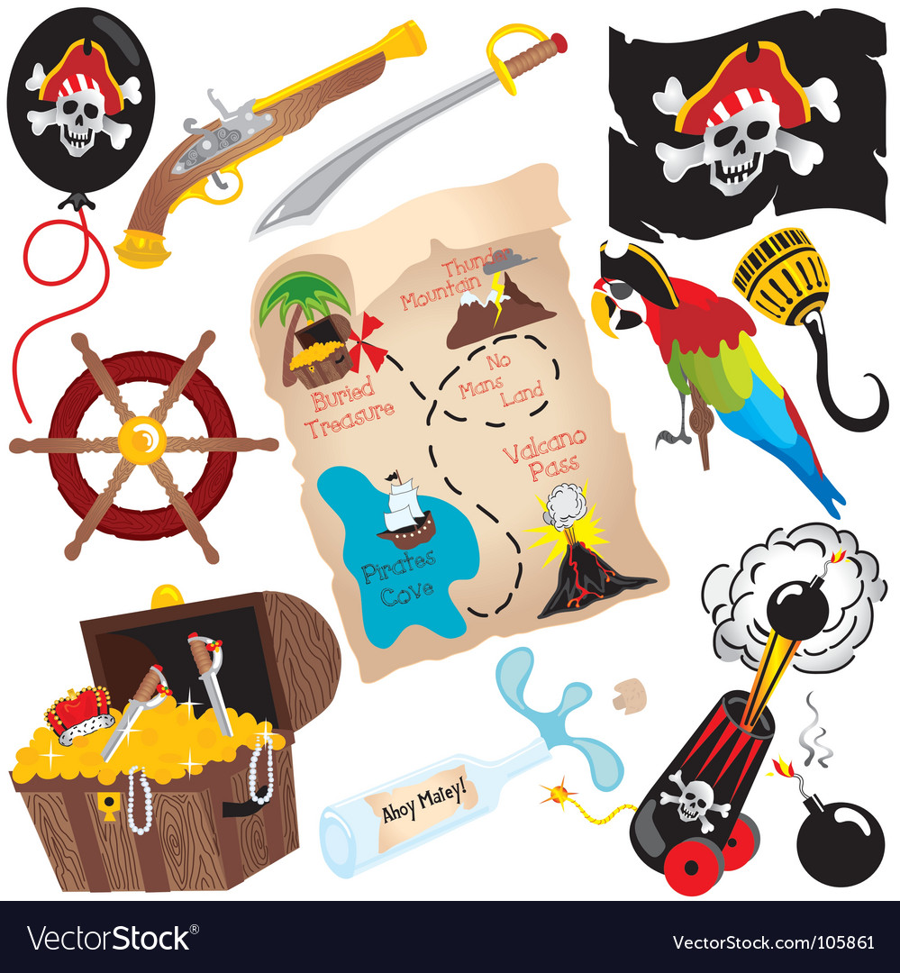 Pirate birthday party icons vector image