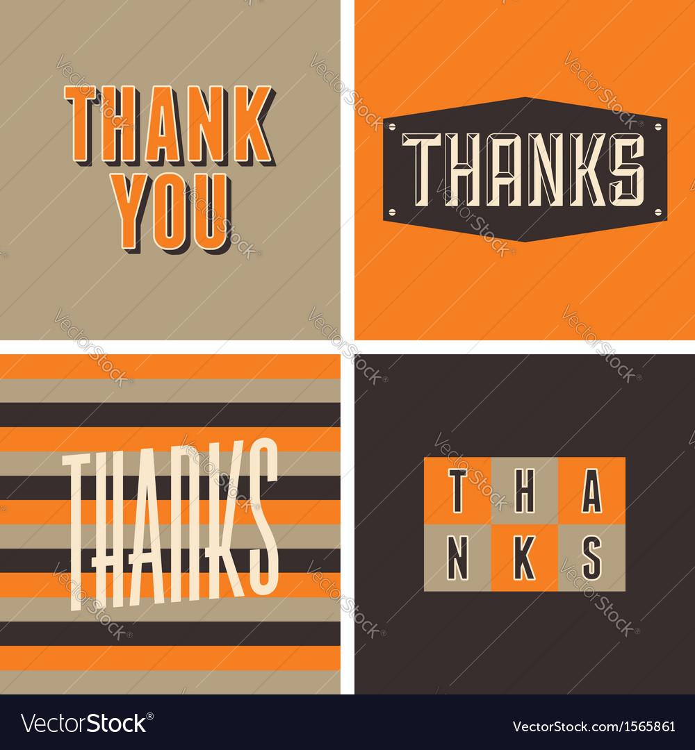 Retro design thank you greeting cards