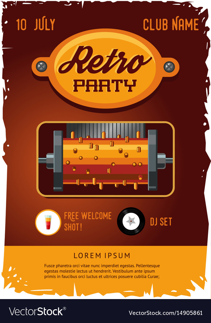 Retro party poster template with vintage clockwork