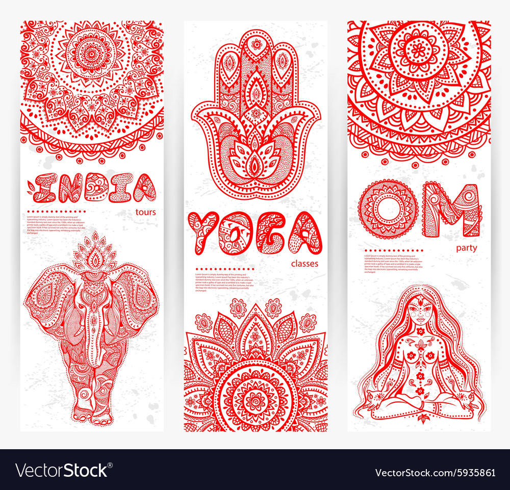Set banners with mandalas and yoga