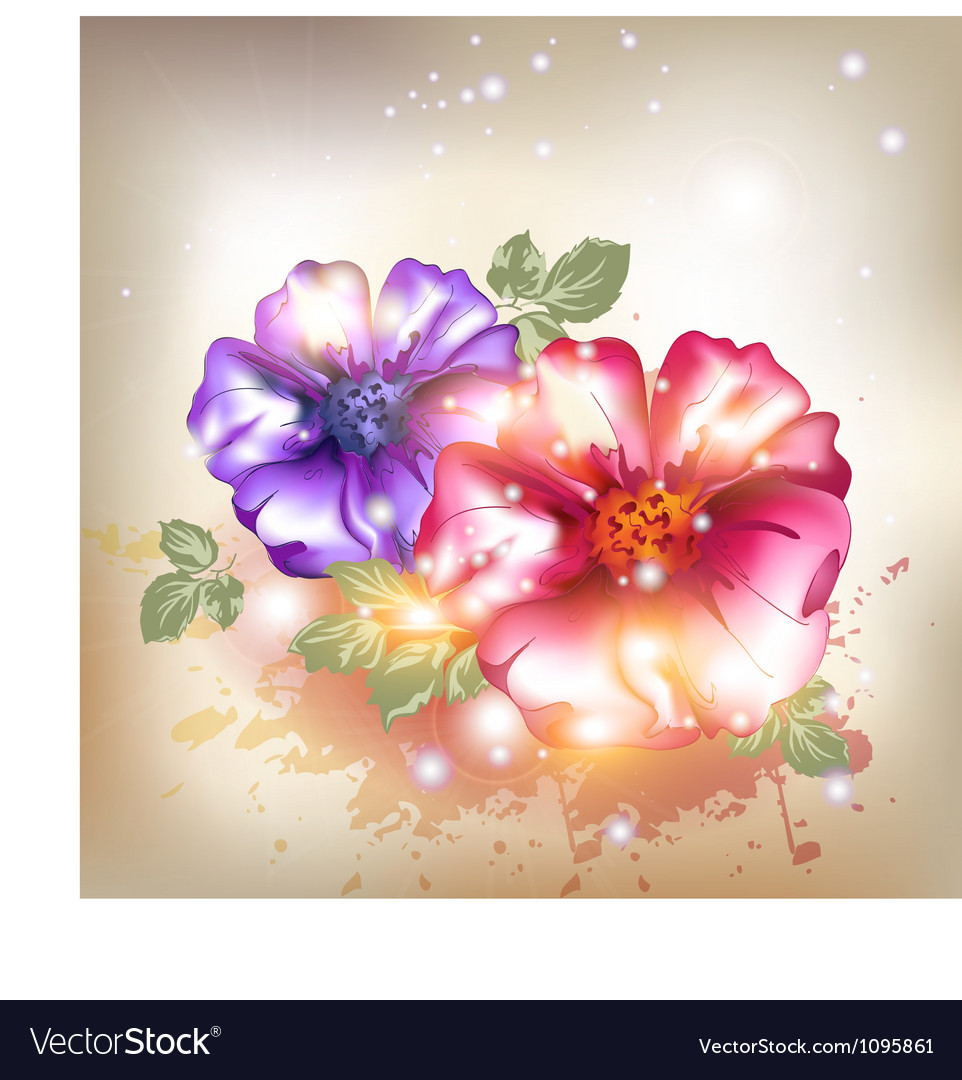 Sexy Pink And Purple Flowers Royalty Free Vector Image