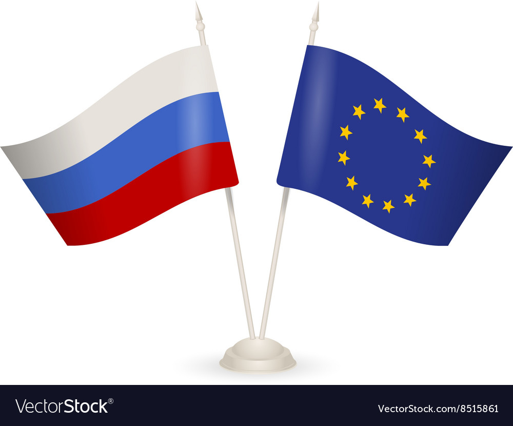 Table stand with flags of Russia and European