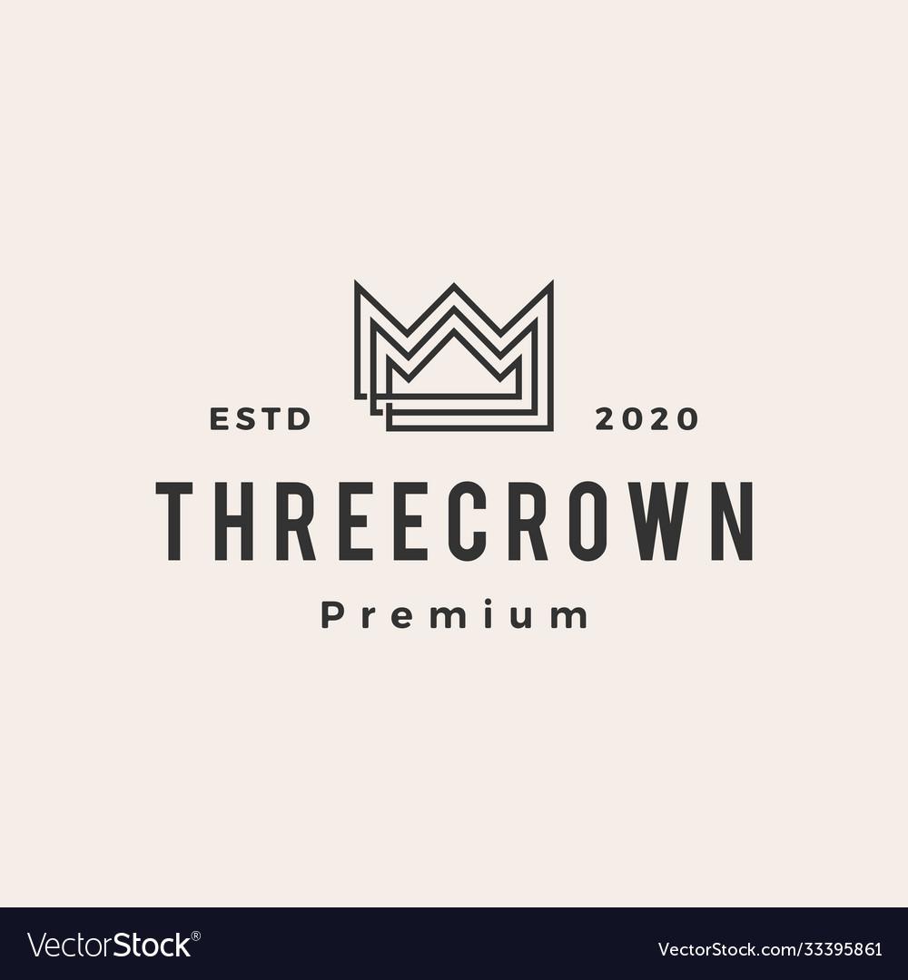 Three king crown hipster vintage logo icon