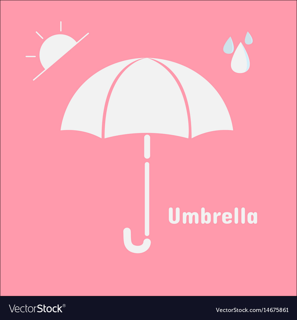 Umbrella icon isolated on pink background umbrell