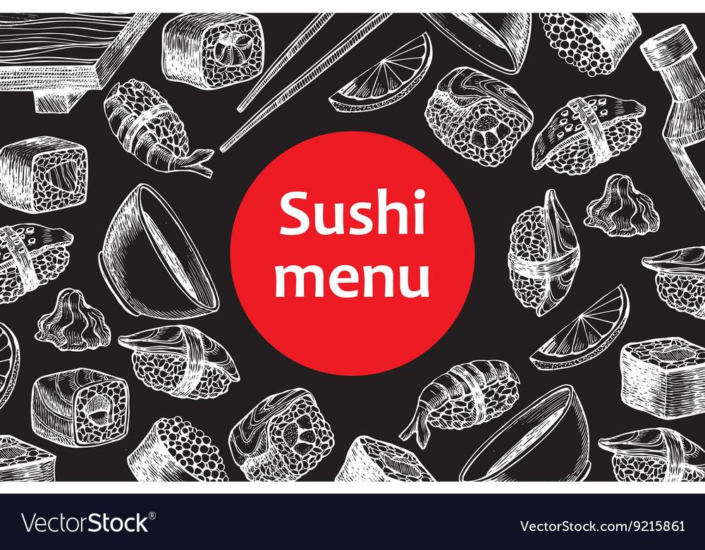 Vintage chalkboard sushi restaurant menu