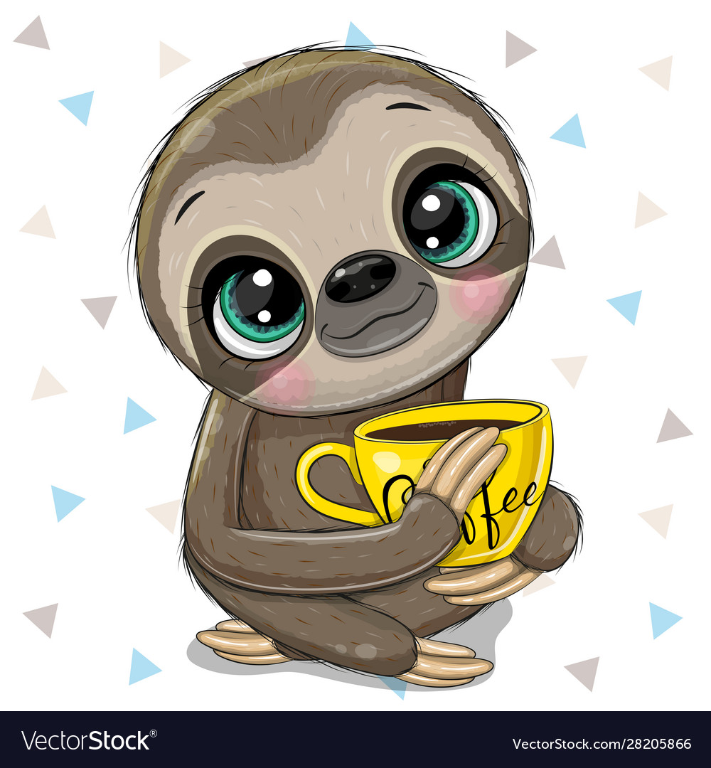 Cartoon sloth with a yellow cup coffee