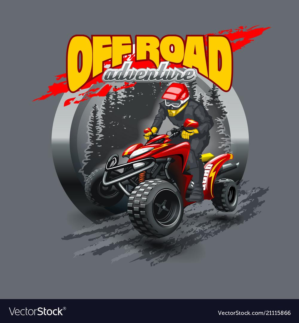 Extreme red off road quad bike