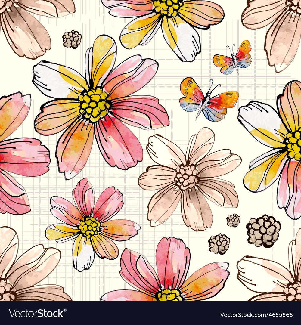 Flower seamless texture watercolor