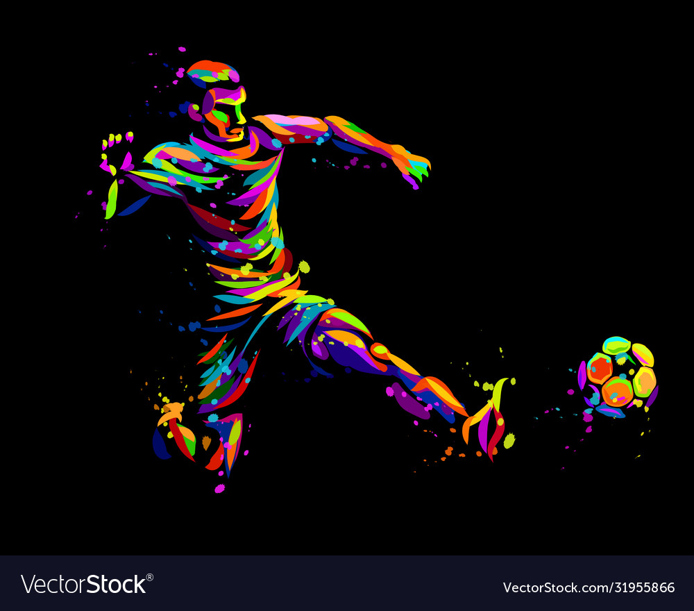 Footballer with ball abstract graphic