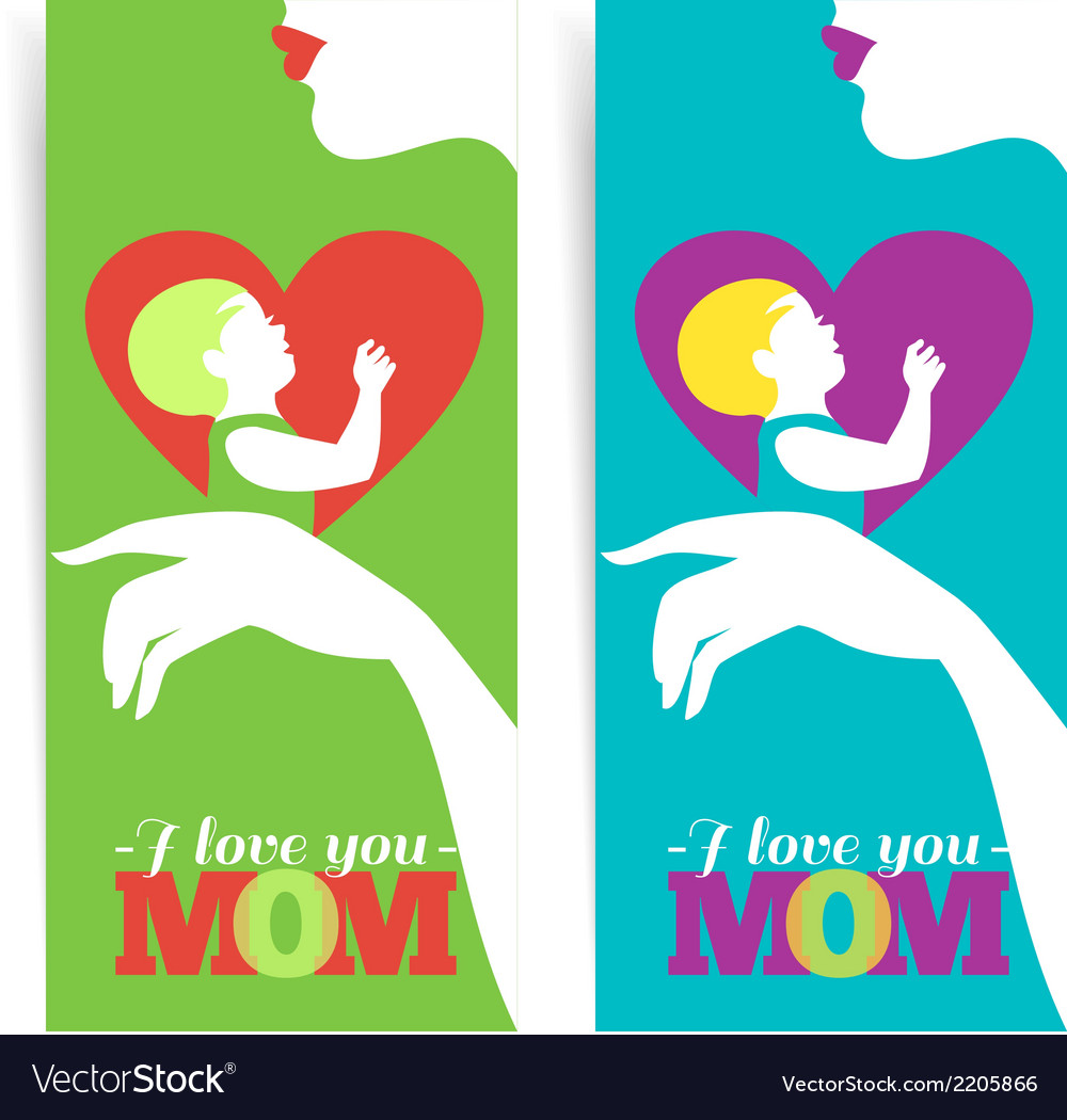Happy Mothers Day Banners of beautiful silhouette