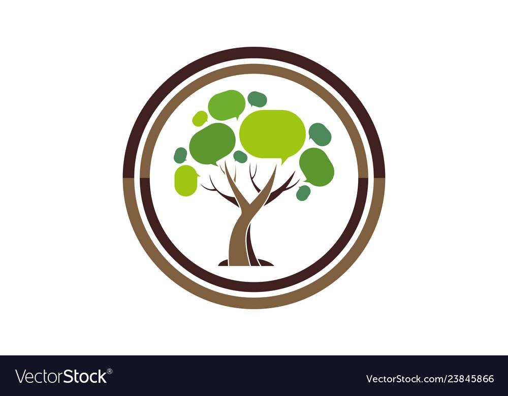 Social tree abstract logo icon
