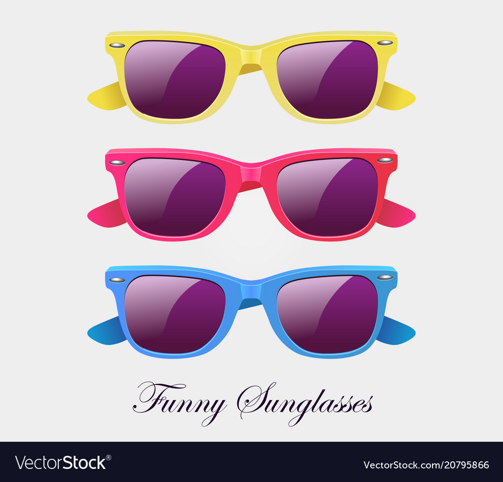 Sunglasses set wayfarer shape multicolored vector image