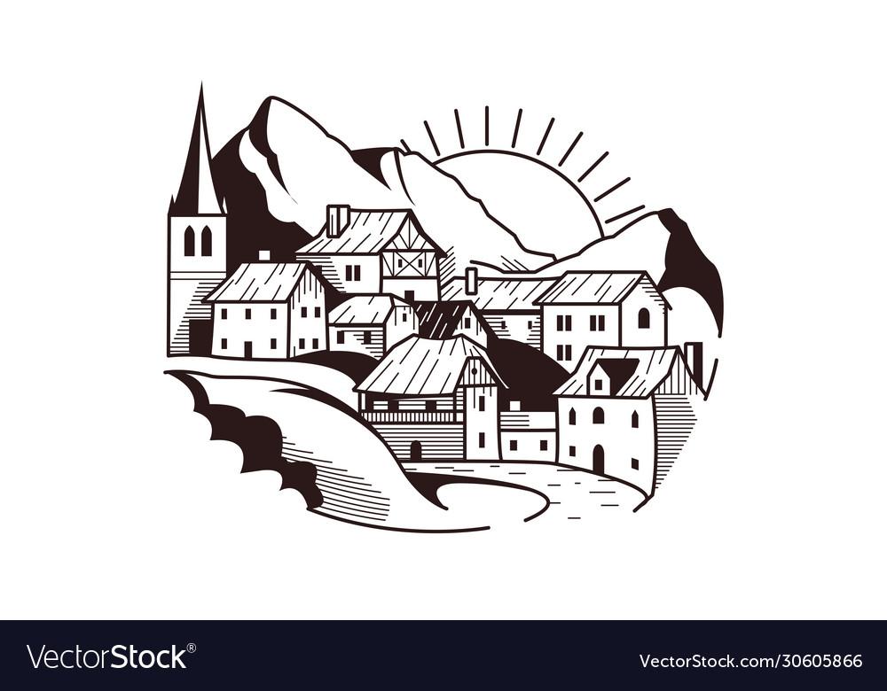 Village on mountain landscape