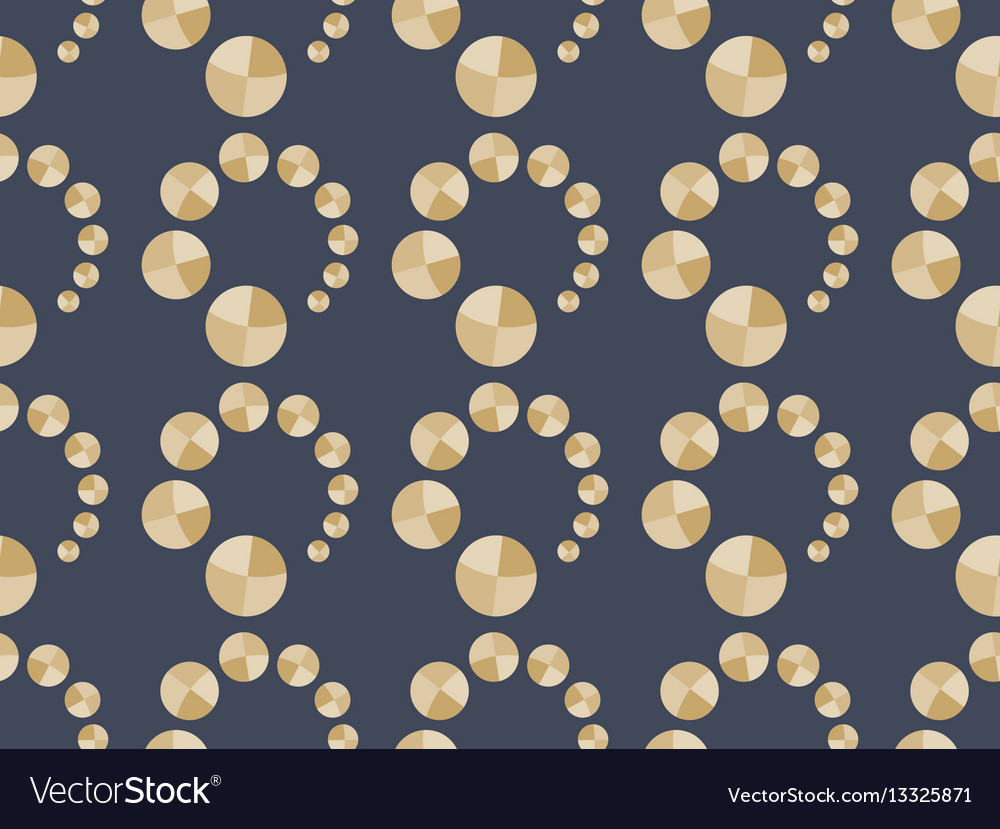 Art deco seamless pattern with circles in gold vector image