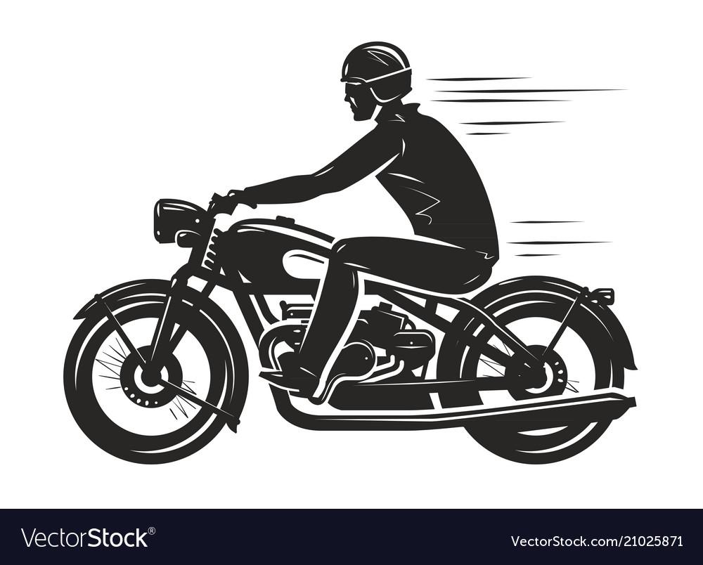 Biker rides a retro motorcycle silhouette