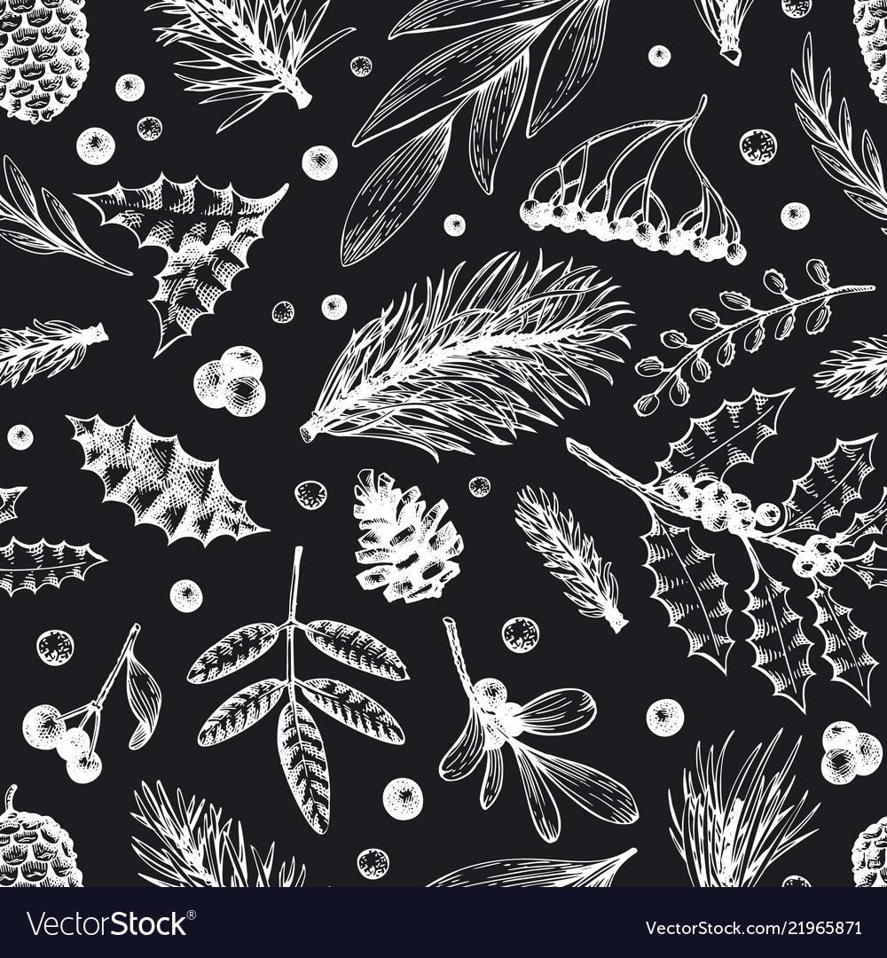Christmas seamless pattern hand drawn
