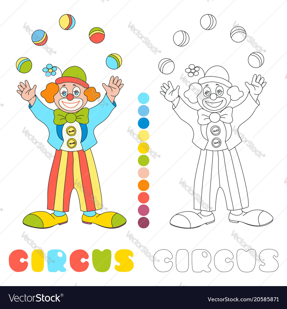 Circus clown juggler coloring book page Royalty Free Vector