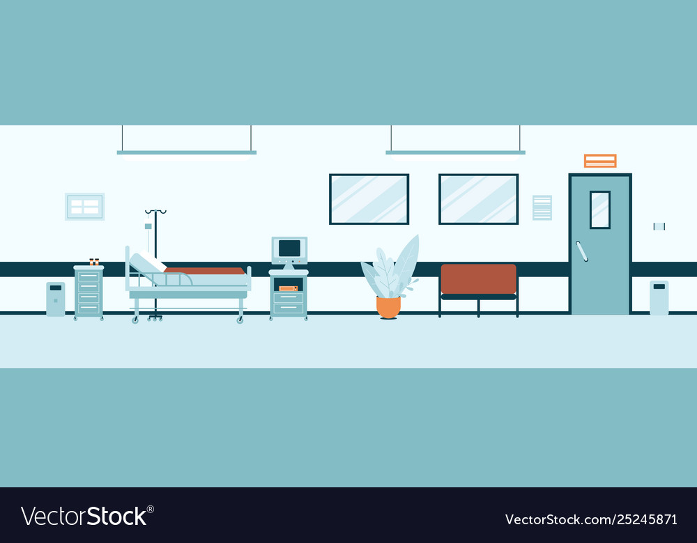 Empty hospital hall or corridor interior flat