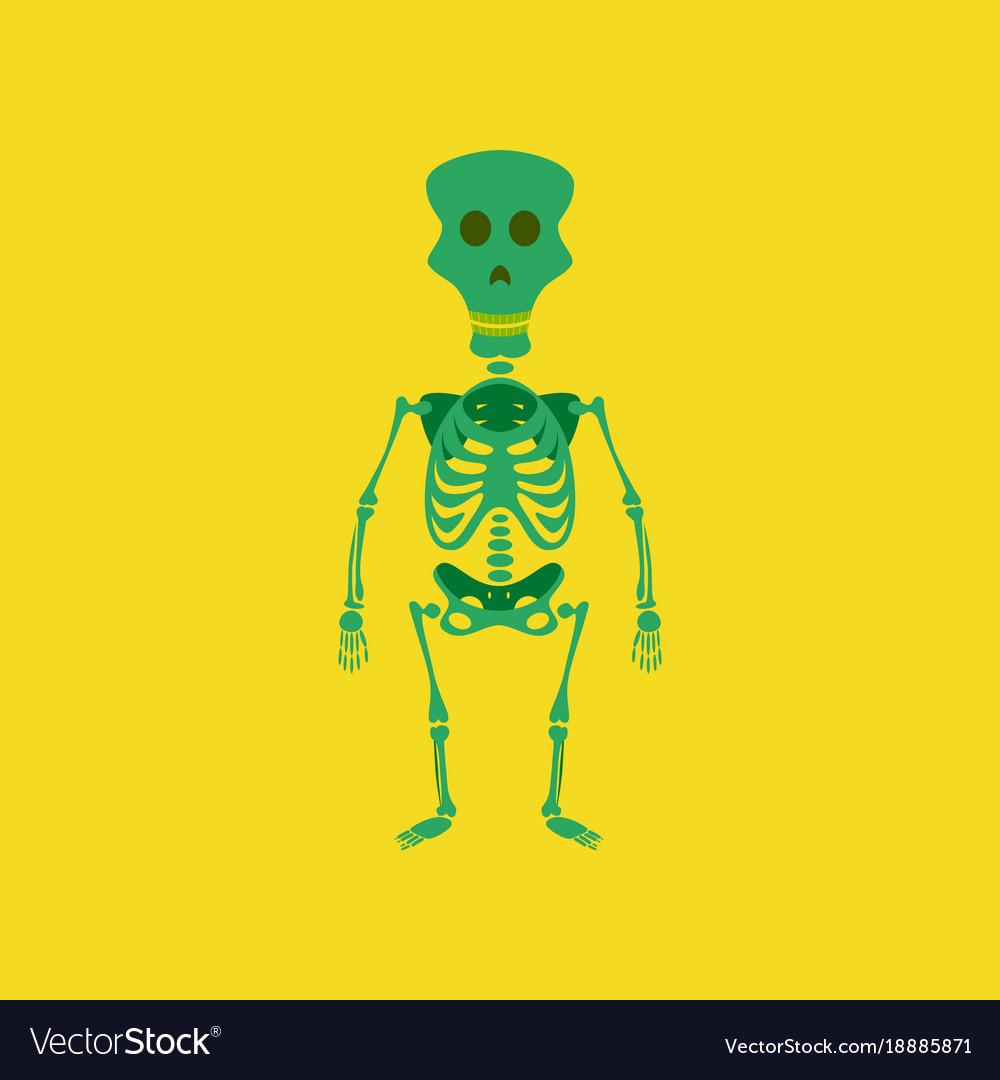 Flat on background of skeleton halloween monster