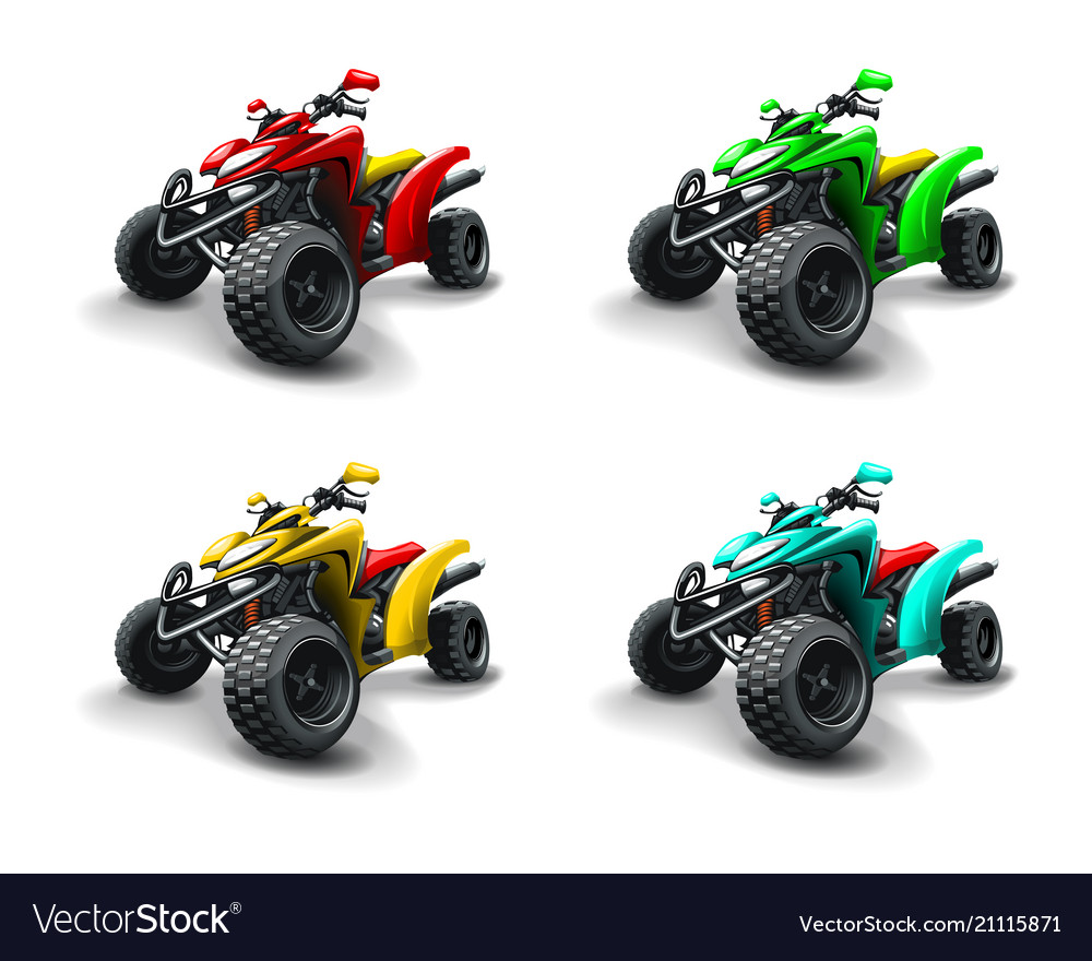 Four Quad Bikes In Different Colours Royalty Free Vector
