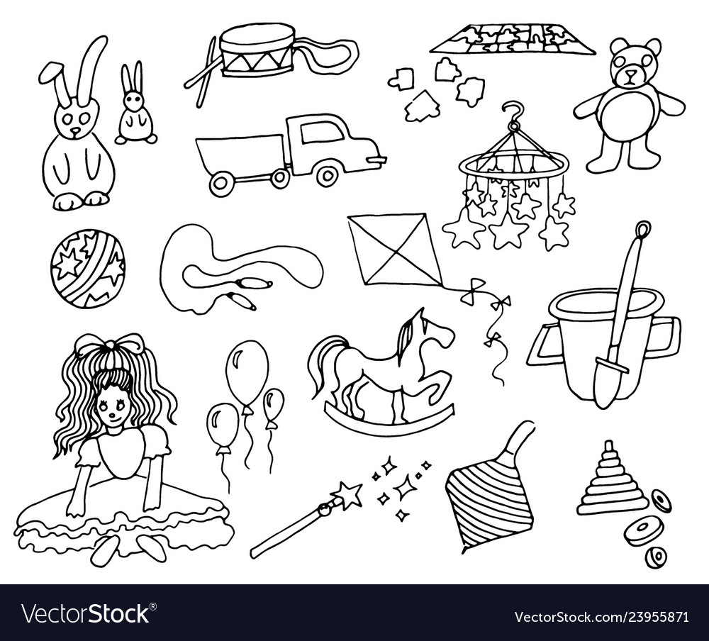 Hand drawn set of kids toys on