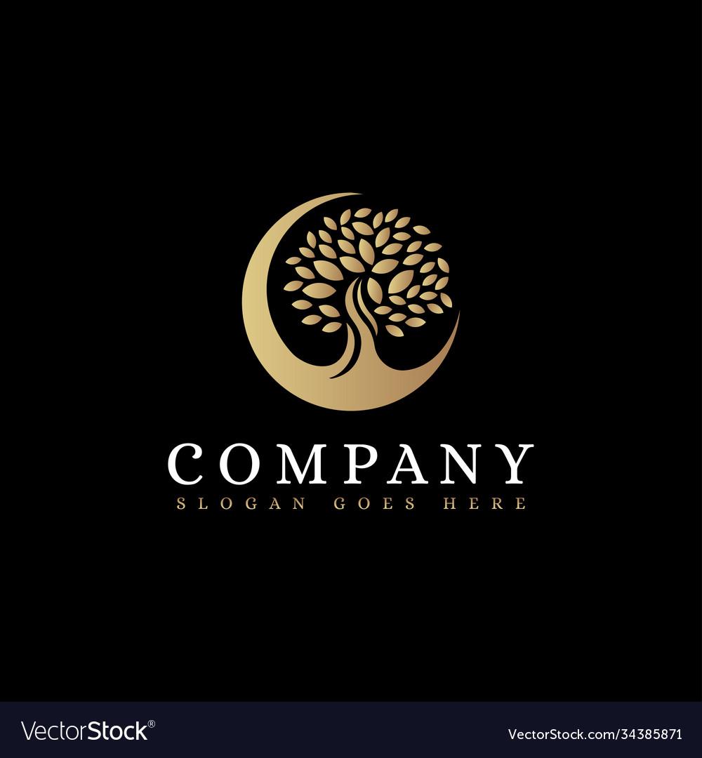 Luxury minimalist moon and tree logo icon