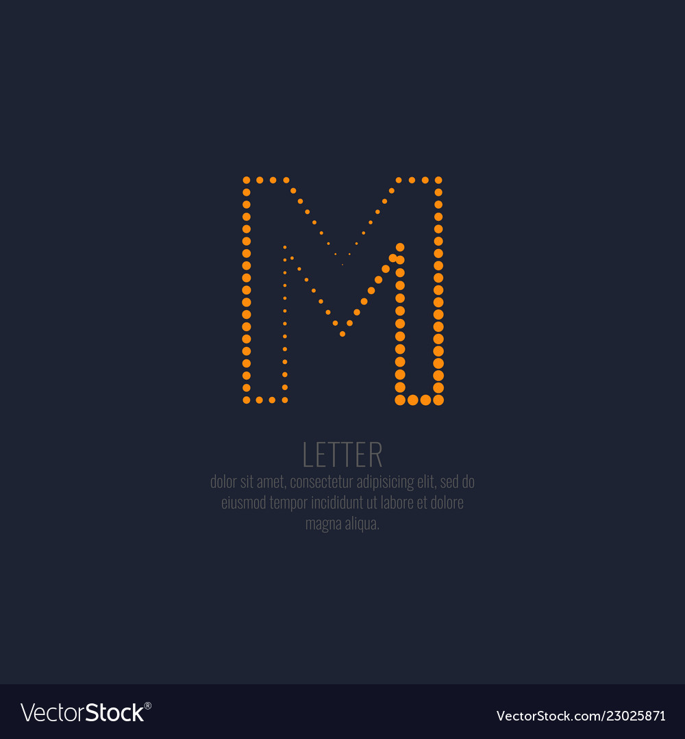 Modern dotted letter m of the latin alphabet