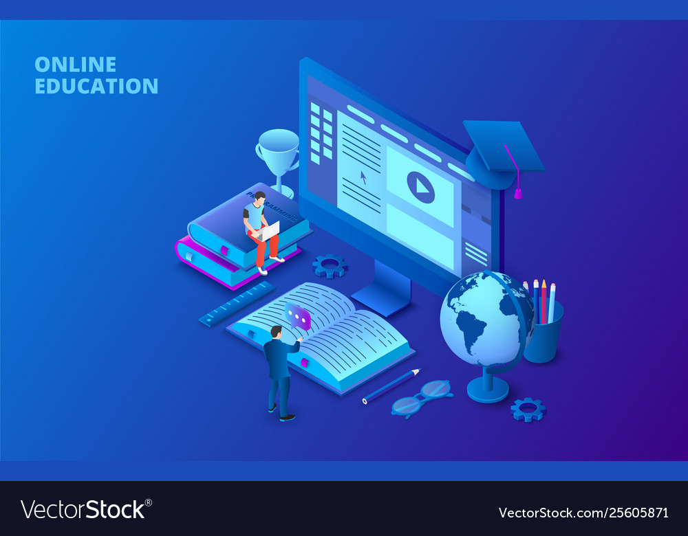 Online education design concept with computer