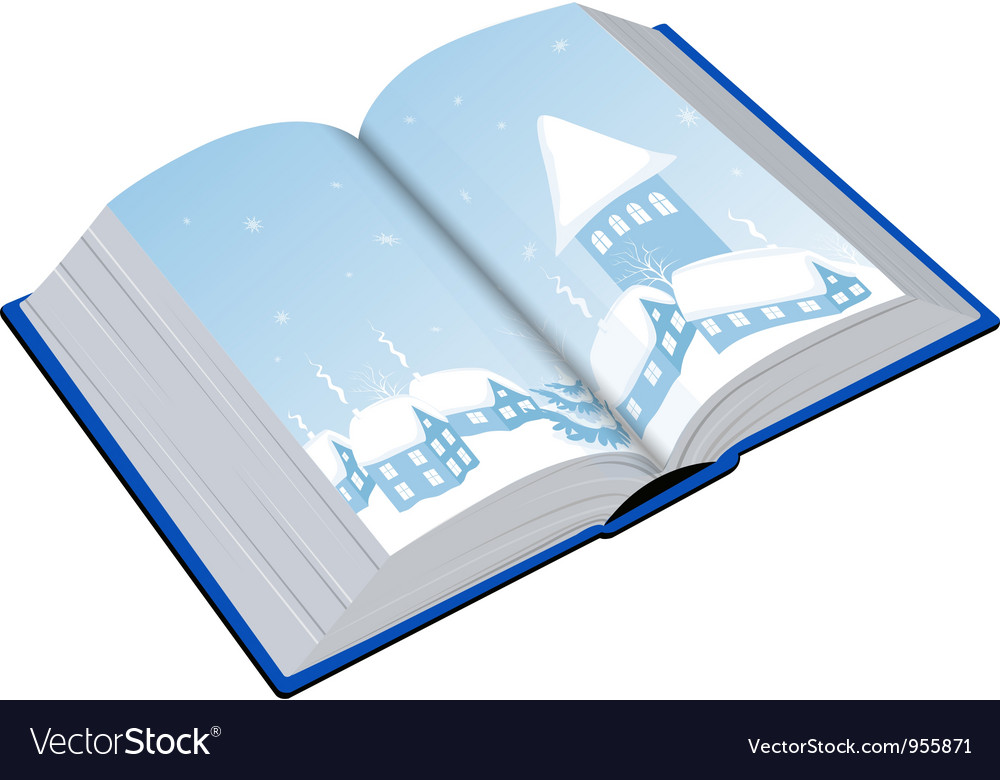 Open book with an of the winter vector image