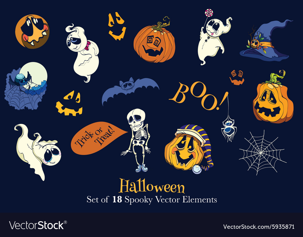 Set of 18 Halloween Funny Scarry Elements