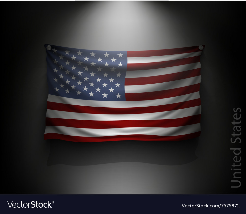 Waving flag United States on a dark wall