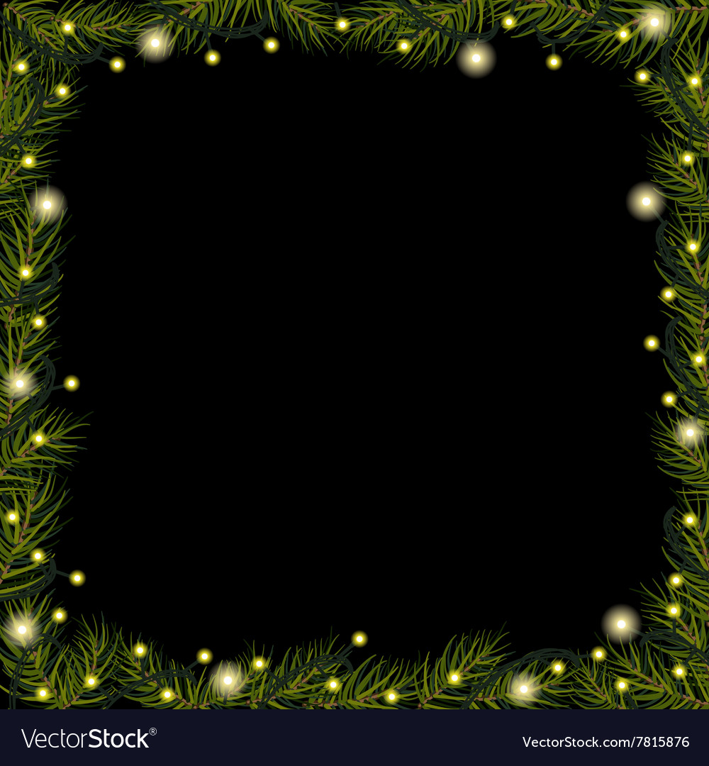 Border of Christmas lights on spruce fir branches vector image