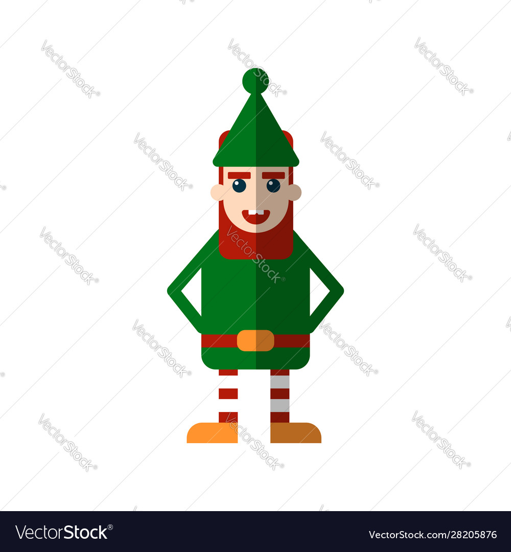 Chistmas elf flat isolated on