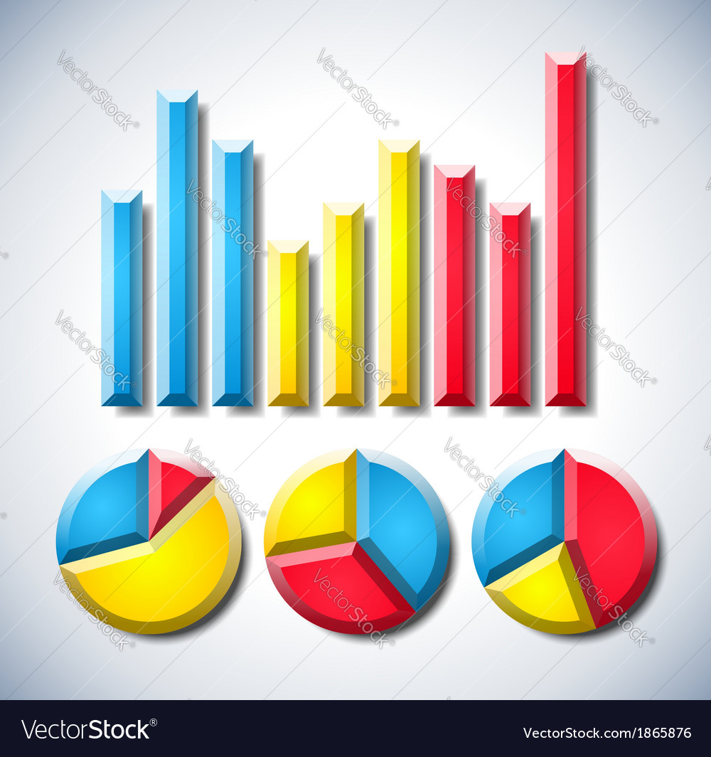 Colorful Infographic With Graph And Pie Diagrams Vector Image