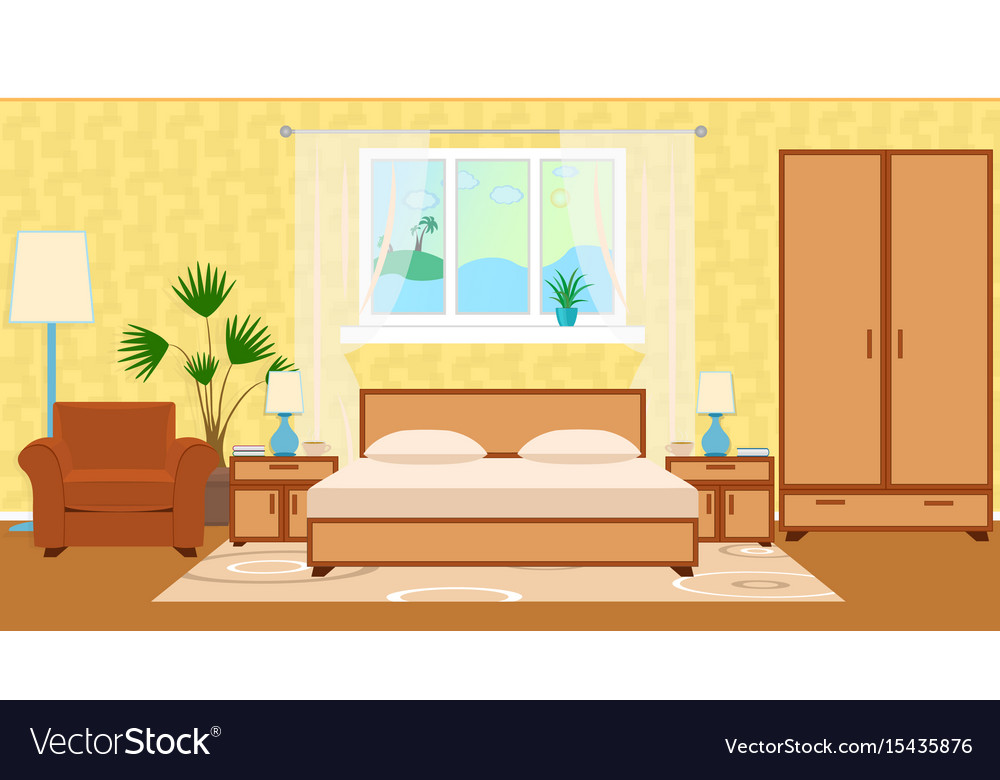 Flat style hotel room interior with furniture