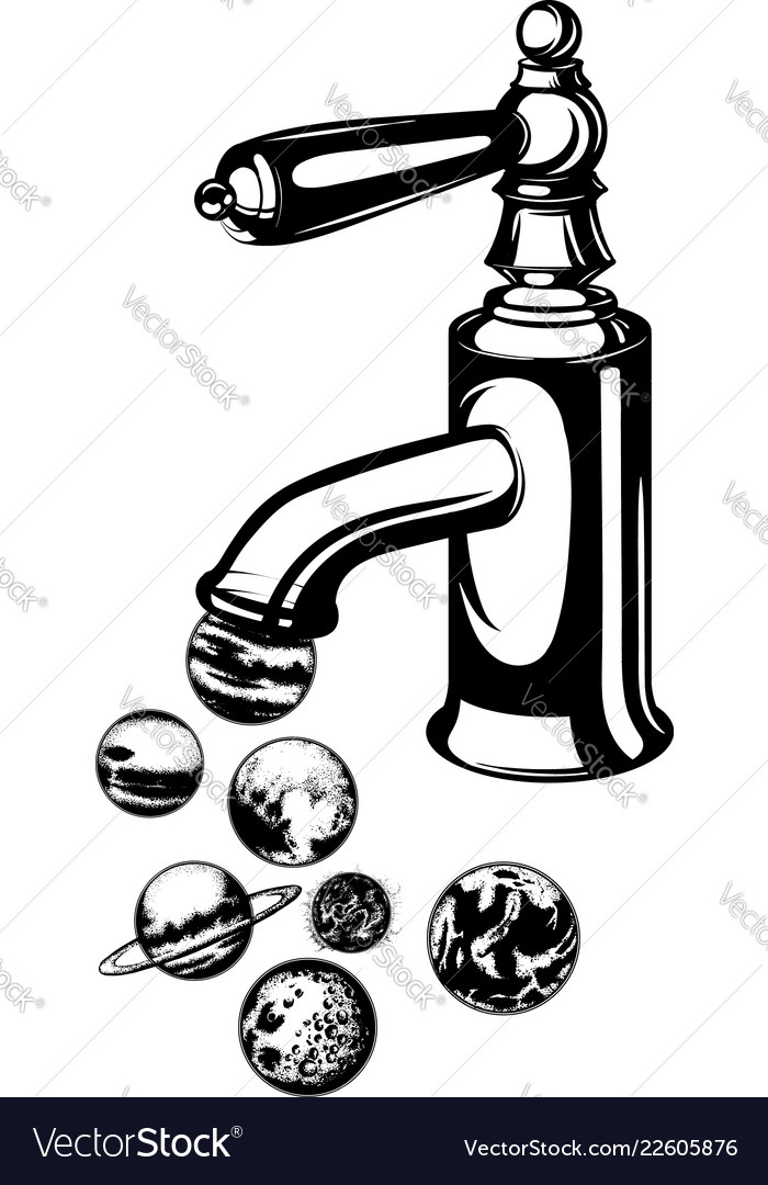 hand drawn of planets and water trap template for vector image