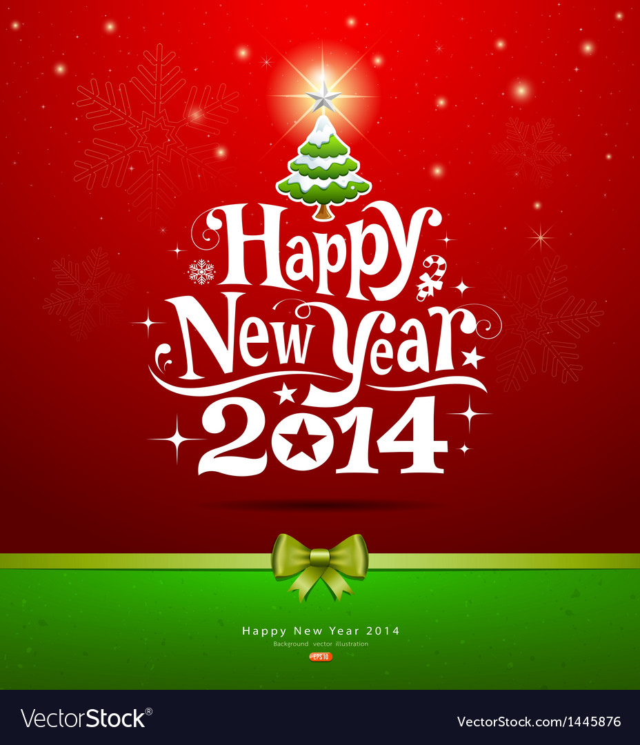 Happy new year 2014 lettering greeting card vector image m4hsunfo