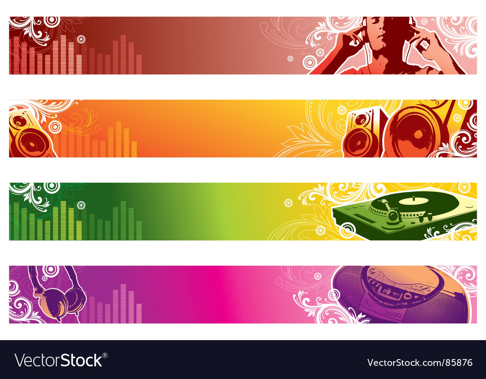 music web banners royalty free vector image vectorstock