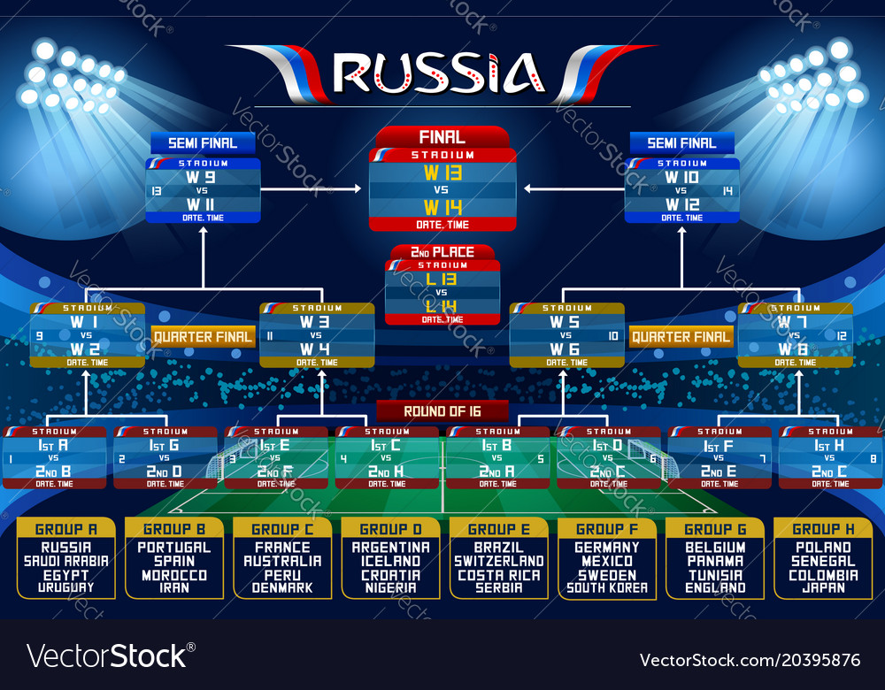 Russia World Cup Schedule Chart Vector Image