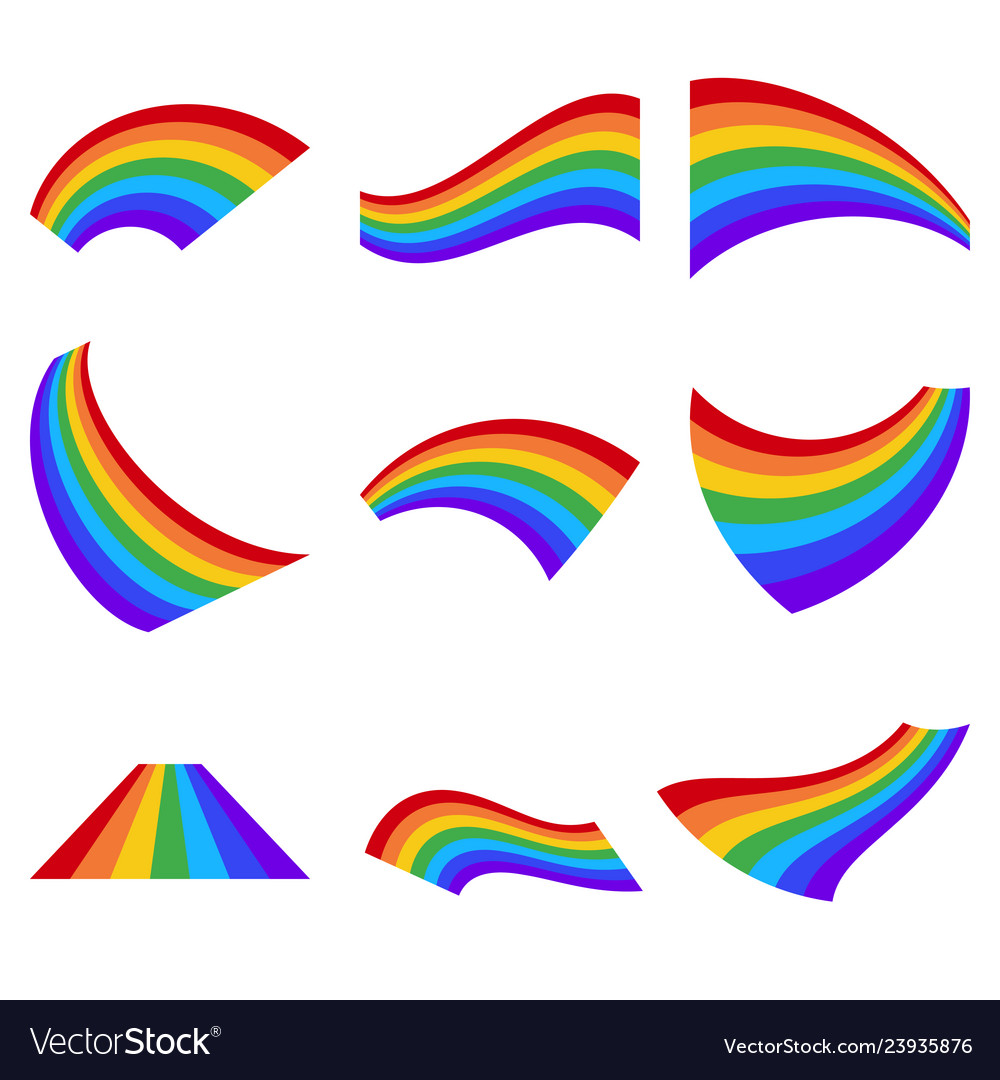 Set of rainbows in different shape isolated