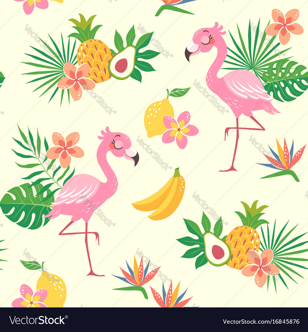 Tropical flamingo bird pattern