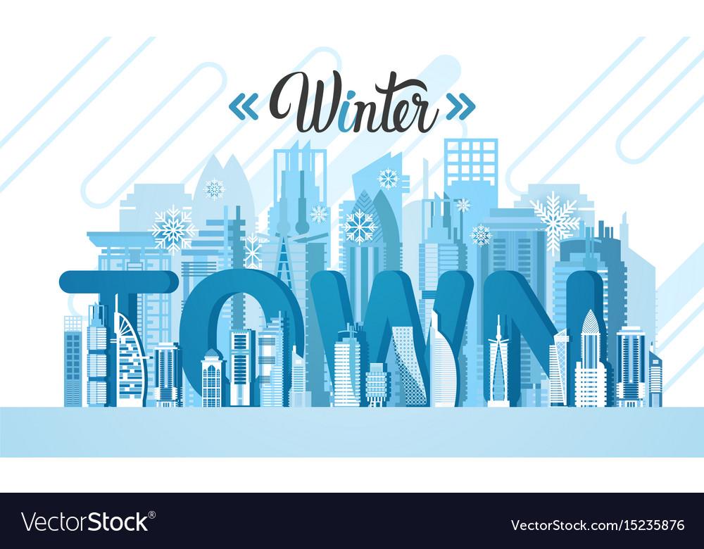 Winter dubai city skyscraper view silhouette